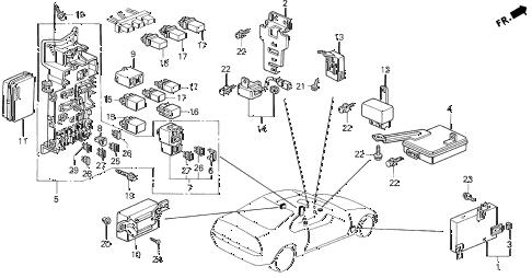 Honda online store : 1993 prelude control unit (cabin) parts