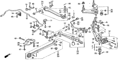 Honda online store : 1993 prelude rear lower arm parts