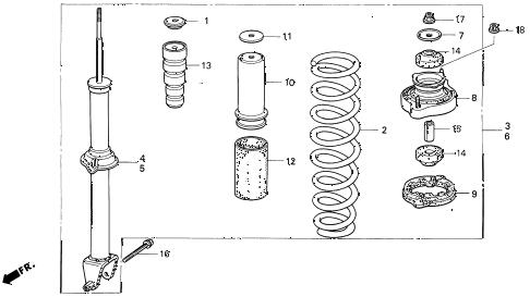 Honda online store : 1993 prelude rear shock absorber parts
