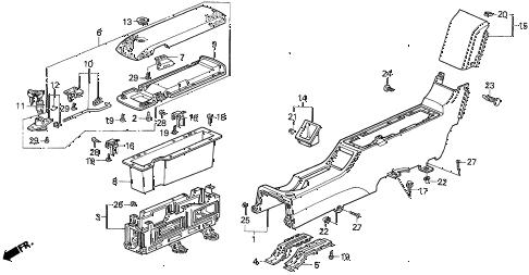Honda online store : 1992 prelude console (1) parts