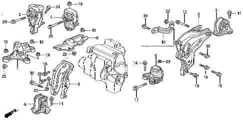 Honda online store : 1992 prelude engine mount parts
