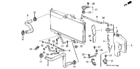 Honda online store : 1997 accord radiator hose parts