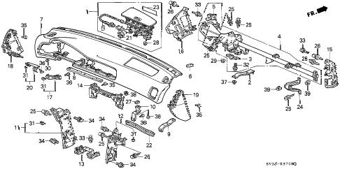 Honda online store : 1997 accord instrument panel parts