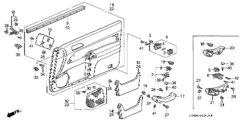 Honda online store : 1996 accord front door lining parts