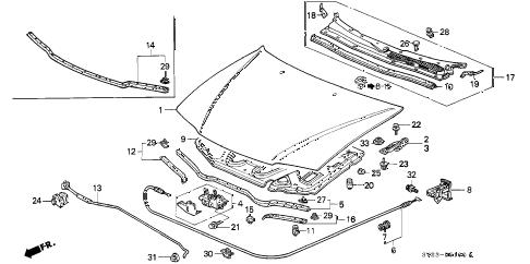 Honda online store : 1994 accord engine hood parts