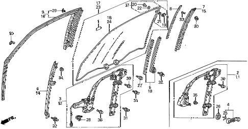 Honda online store : 1997 accord door window parts
