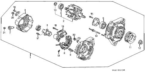 Honda online store : 1997 accord alternator (denso) parts