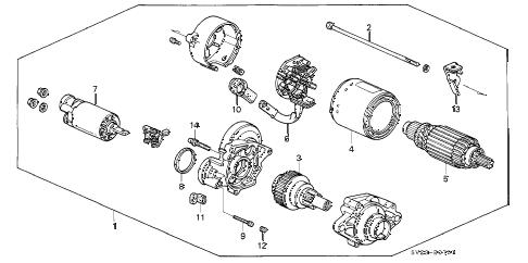 Honda online store : 1997 accord starter motor (mitsuba) parts