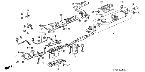 Honda online store : 1996 accord exhaust pipe (v6) parts