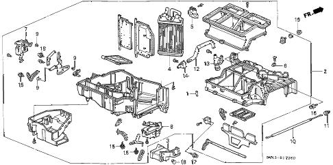 Honda online store : 1996 accord heater unit parts