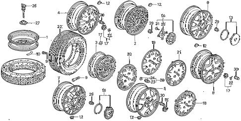 Honda online store : 1997 accord wheel disk parts