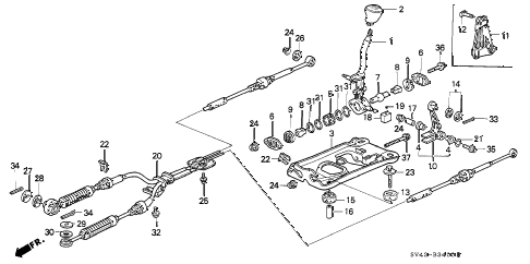 Honda online store : 1996 accord shift lever parts