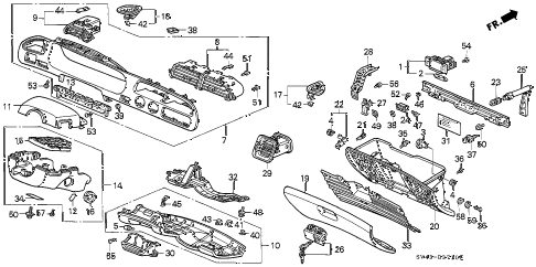 Honda online store : 1996 accord instrument garnish parts