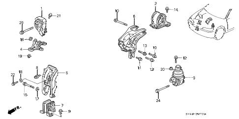 Honda online store : 1997 accord engine mount (1) parts