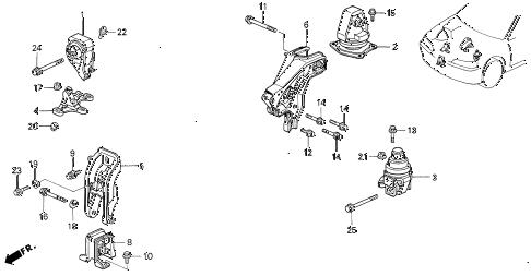 Honda online store : 1995 accord engine mounts (mt) (vtec