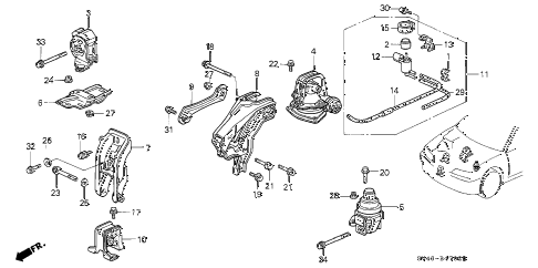 Honda online store : 1995 accord engine mounts (at) ('94