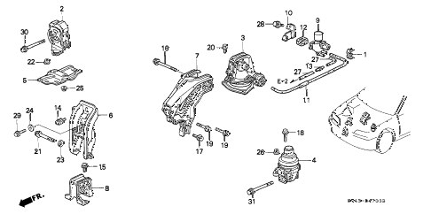 Honda online store : 1996 accord engine mounts (at) ('96