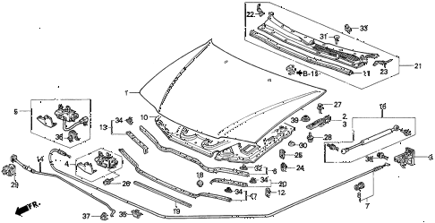 Honda online store : 1996 accord engine hood parts