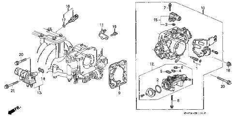 Honda online store : 1995 accord throttle body (v6) parts