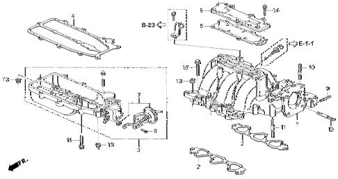 Honda online store : 1995 accord intake manifold (v6) parts
