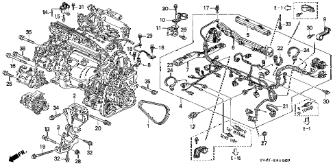 Honda online store : 1996 accord engine wire harness