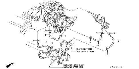 Honda online store : 1997 accord water hose (v6) parts