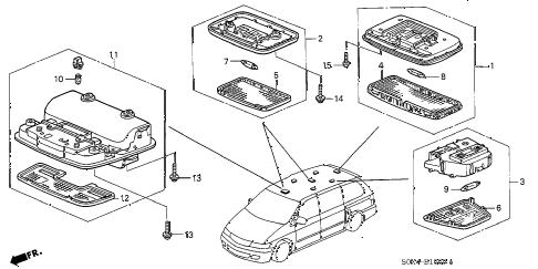 Honda online store : 2001 odyssey interior light parts