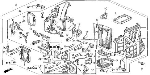 Honda online store : 2003 odyssey rear heater unit parts