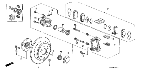Honda online store : 2003 odyssey rear brake (disk) parts