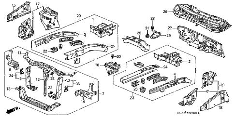 Honda online store : 2000 odyssey front bulkhead parts