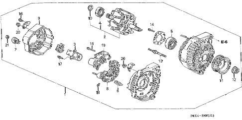 Honda online store : 2001 odyssey alternator (denso) (-'01