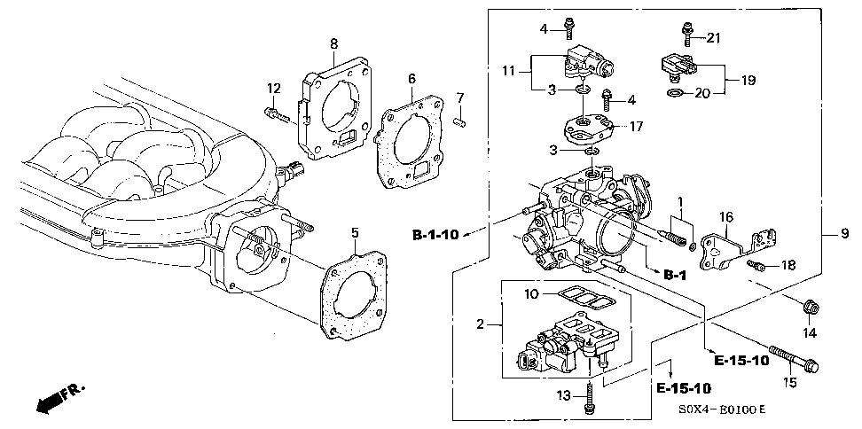 Honda online store : 2000 odyssey throttle body (-'01) parts