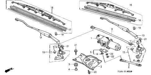 Honda online store : 2002 s2000 front wiper parts