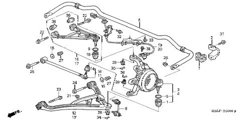 Honda online store : 2001 s2000 rear lower arm parts