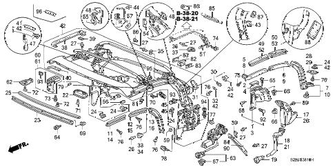Honda online store : 2000 s2000 soft top frame parts