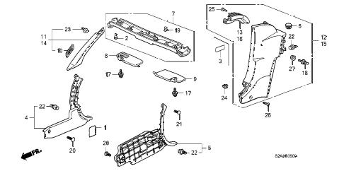Honda online store : 2009 s2000 pillar garnish parts