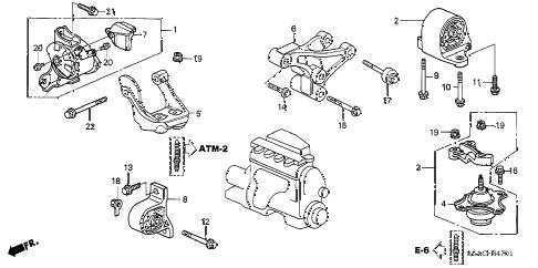 Honda online store : 2005 civic engine mounts (at) (1) parts
