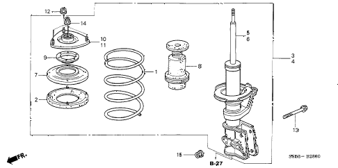 Honda online store : 2005 civic front shock absorber parts