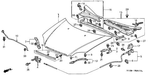 Honda online store : 2003 civic hood parts