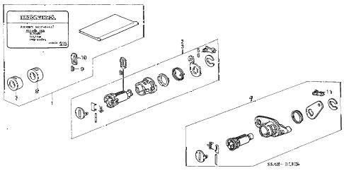 Honda online store : 2002 civic key cylinder kit parts