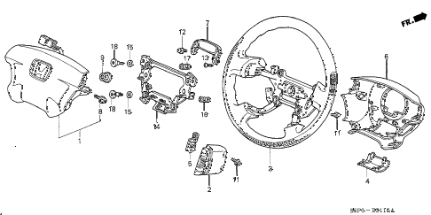 Honda online store : 2001 civic steering wheel (srs) parts