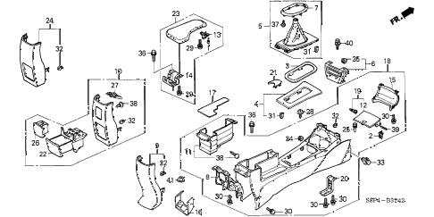 Honda online store : 2003 civic console (3) parts