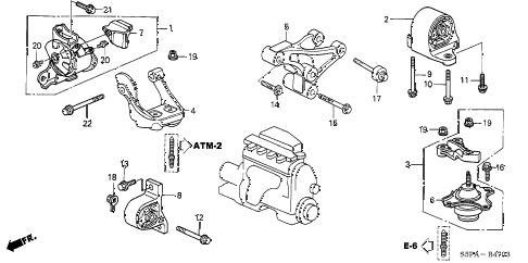 Honda online store : 2005 civic engine mounts (at) (2) parts