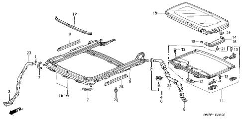Honda online store : 2002 civic sliding roof parts