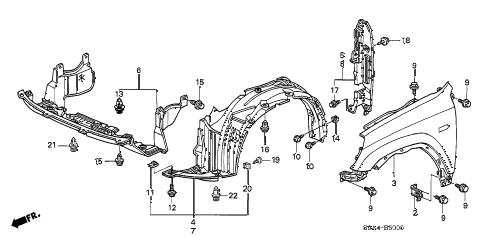 Honda online store : 2005 crv front fender parts