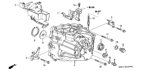 Honda online store : 2005 crv mt transmission case parts