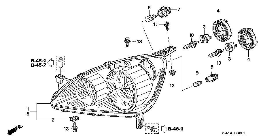 Honda online store : 2005 crv headlight (2) parts