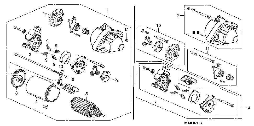 Honda online store : 2004 crv starter motor (mitsuba) parts
