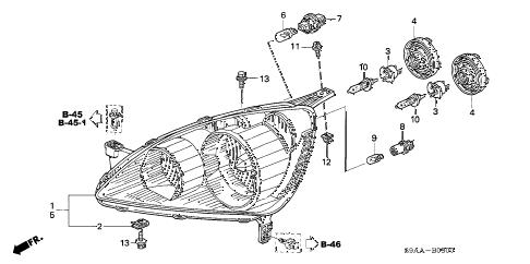 Honda online store : 2006 crv headlight parts