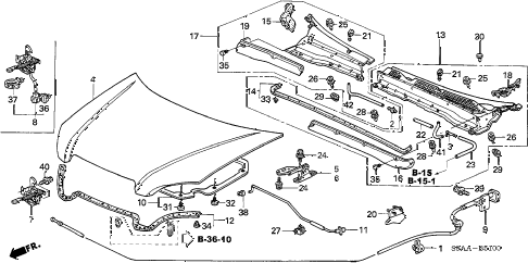 Honda online store : 2006 crv engine hood parts